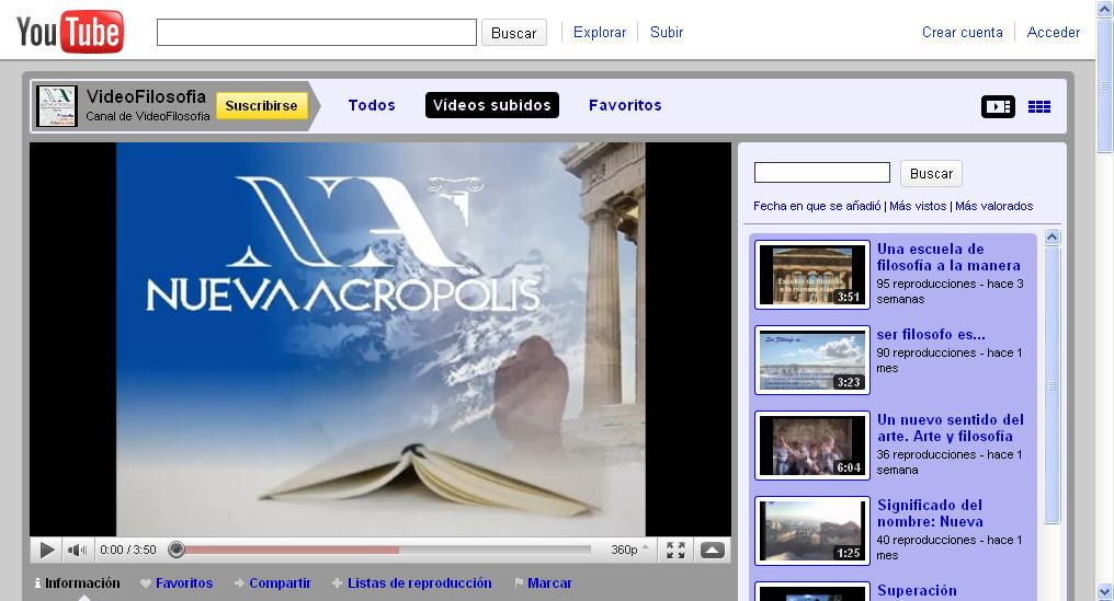 Canal de vídeos de Nueva Acrópolis en YouTube